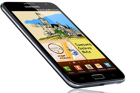 Samsung Galaxy Note T879 front and side view
