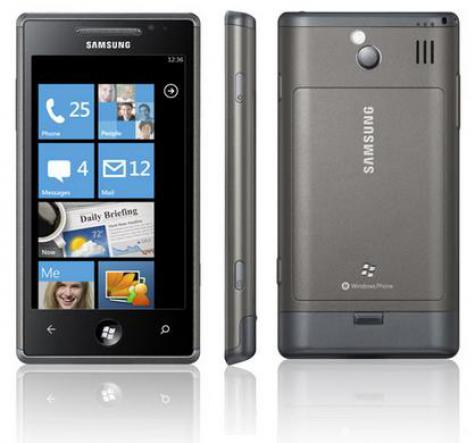 Samsung I8700 Omnia 7 front and side view