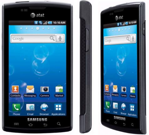 Samsung i897 Captivate front and side view