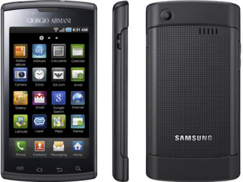 Samsung I9010 Galaxy S Giorgio Armani front and side view