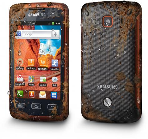 Samsung S5690 Galaxy Xcover front and side view