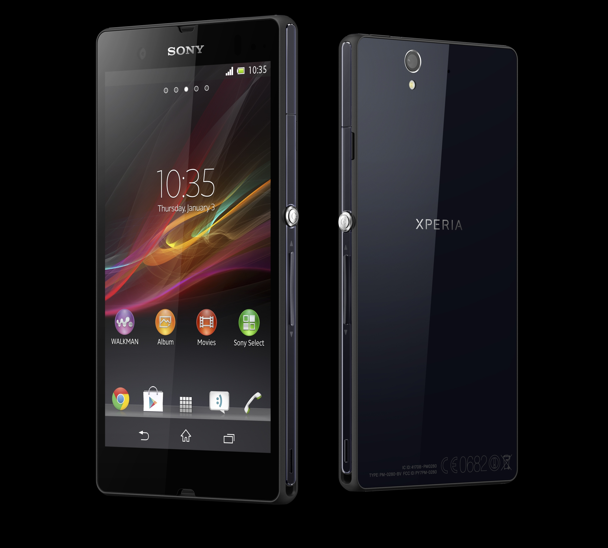 Sony Xperia Z front and side view