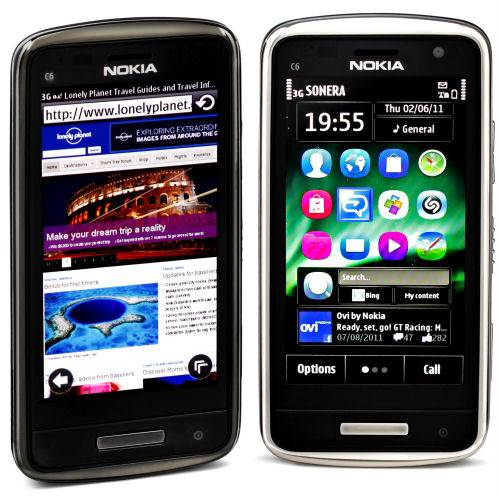 Nokia C6-01 front and side view