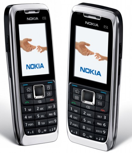 Nokia E51 front and side view