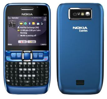 Nokia E63 front and side view