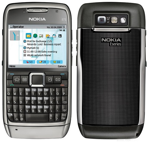 Nokia E71 front and side view