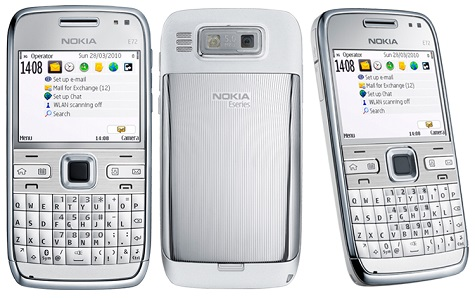 Nokia E72 front and side view
