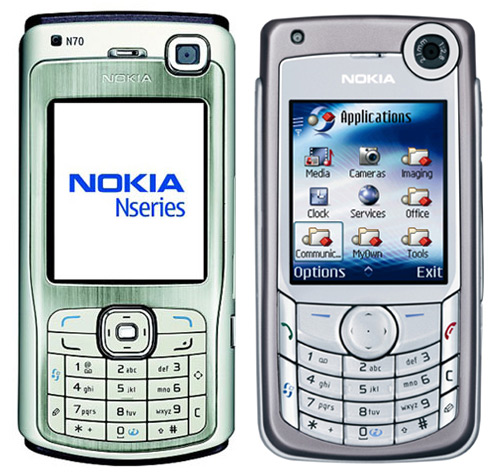 Nokia N70 front and side view