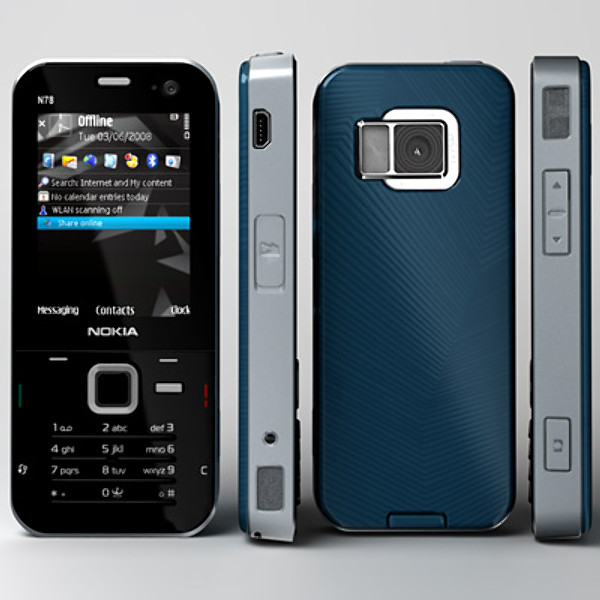 Nokia N78 front and side view