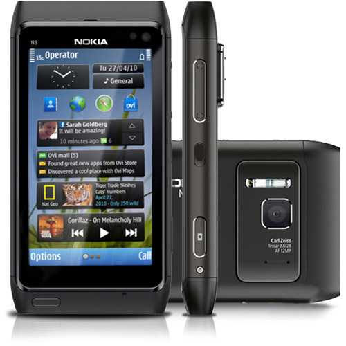 Nokia N8 front and side view