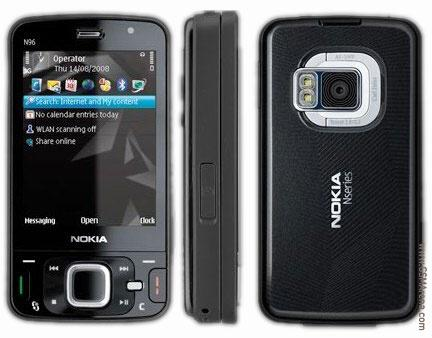 Nokia N96 front and side view