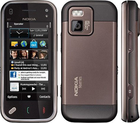 Nokia N97 front and side view